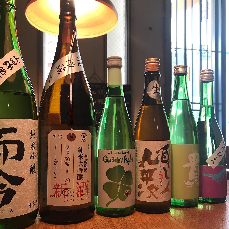 春の日本酒も揃ってます。本日3/24も17時から23時まで営業します。#イルフェソワフ #ワイン#日本酒 #薬院#警固