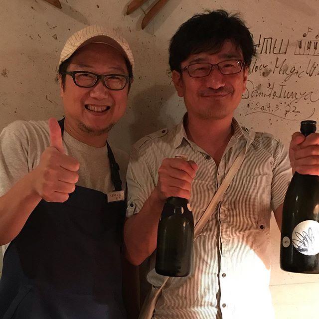 土佐しらぎく(高知)の仙頭杜氏が遊びに来てくれました!仙頭杜氏はリアル同級生なんですよー。しらぎくいいお酒です!#イルフェソワフ #ワイン#日本酒 #薬院#警固