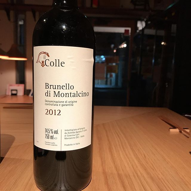 今日11/18はちょっといいやつをグラスで開けますよ。イルコッレブルネル・ディ・モンタルチーノ2012楽しみー本日もよろしくお願いします!#イルフェソワフ #ワイン#日本酒 #薬院#警固#イルコッレ#ブルネル・ディ・モンタルチーノ